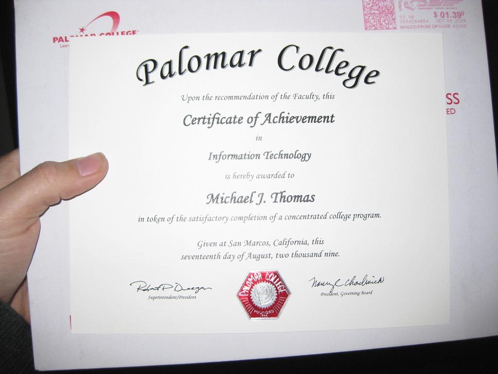 Palomar Collegeinformation Technology Certificate Academic Pcs Blog